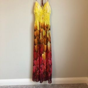 Ombré Feathered Maxi Dress - Size Small